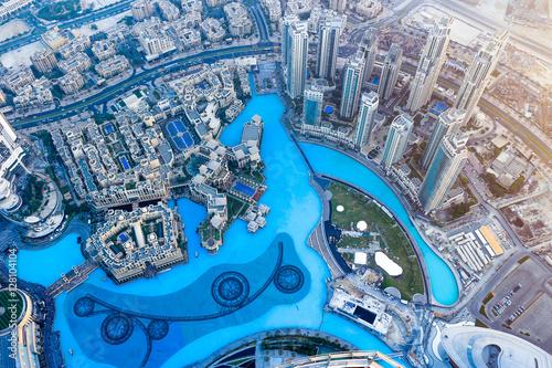 Leinwand Poster Dubai city view from TOP of burj khalifa