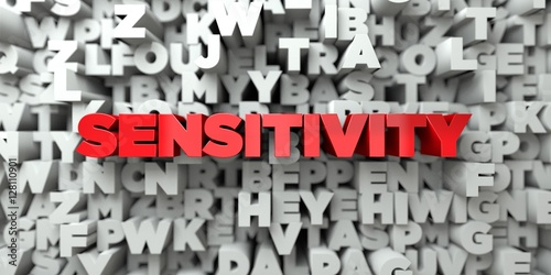 Fotografia  SENSITIVITY -  Red text on typography background - 3D rendered royalty free stock image