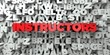 INSTRUCTORS - Red text on typography background - 3D rendered royalty free stock image. This image can be used for an online website banner ad or a print postcard.