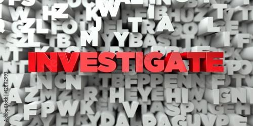 Foto  UNTERSUCHEN - Roter Text auf Typografiehintergrund - 3D übertrug freies Archivbild der Abgabe