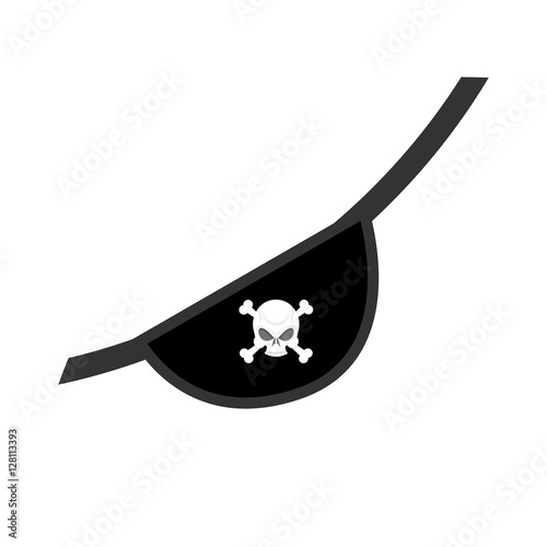 Eye patch isolated. Pirate accessory. skull Jolly Roger Fototapet