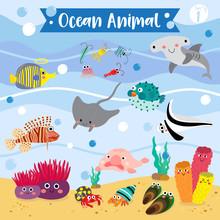 Ocean Animal Cartoon Underwater Background. Blowfish. Hammerhead Shark. Hermit Crab. Sponge. Lionfish. Jackknife Fish. Blobfish. Angelfish. Manta Ray. Mussel. Zooplankton. Vector Illustration. Set 1.