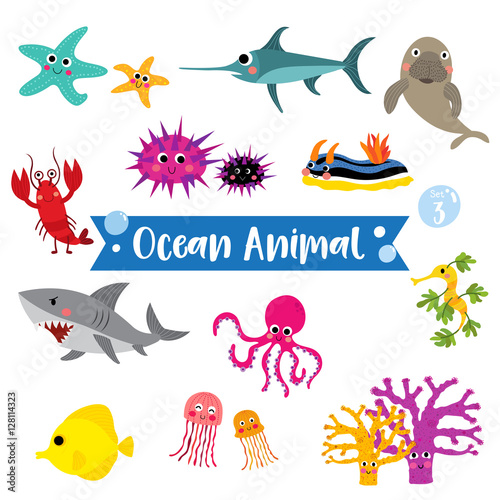 Photo  Ocean Animal cartoon on white background
