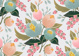 Vector illustration of a seamless floral pattern with spring flowers. Lovely floral background in sweet colors - 128115311