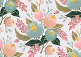 Wektorowa ilustracja bezszwowy kwiecisty wzór z wiosennymi kwiatami. Piękny kwiatowy tło w słodkich kolorach - 128115311