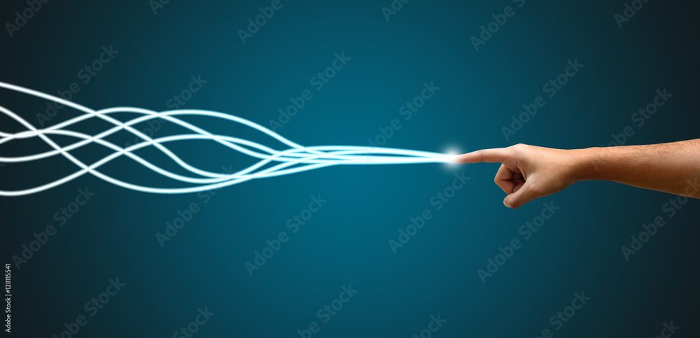 Fototapety, obrazy: Young man hand pointing with fiber optic light trail connection.