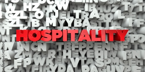 Fényképezés  HOSPITALITY -  Red text on typography background - 3D rendered royalty free stock image