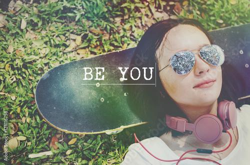 Fotografie, Obraz  Be Yourself Self Esteem Confidence Optimistic Concept