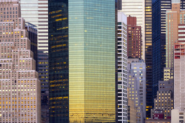 Fototapeta Abstrakcja Skyline at morning light, skyscrapers details, Manhattan, New York City, United States, USA