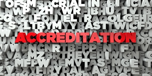 Photo ACCREDITATION -  Red text on typography background - 3D rendered royalty free stock image