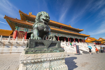 Fototapeta Chinese guardian lion, Forbidden City, Beijing, China
