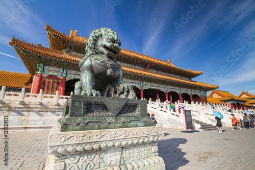 In de dag China Chinese guardian lion, Forbidden City, Beijing, China