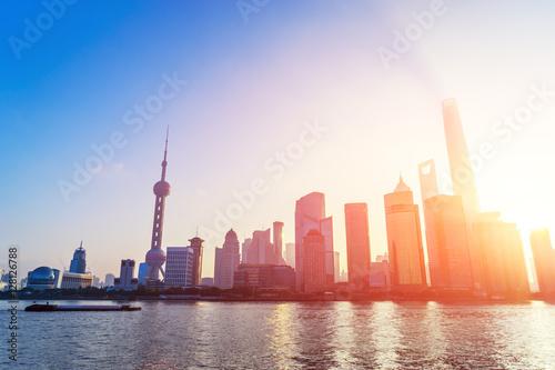 Photo  modern office buildings in shanghai