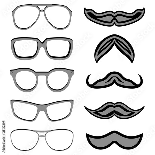 Set of hipster nerd glasses and stylish mustaches on white. Web ...