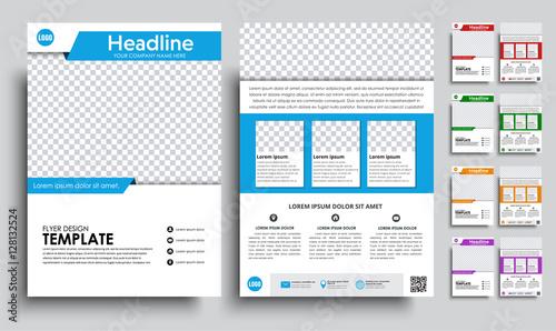 Obraz Set flyers (brochure) A4 with empty space for photo - fototapety do salonu