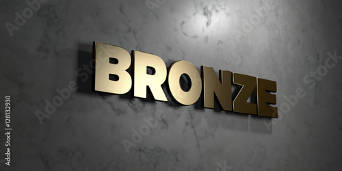 Fotografie, Obraz  Bronze - Gold sign mounted on glossy marble wall  - 3D rendered royalty free stock illustration