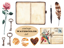 Vintage Set. Rose, Keys, Notebook, Pen, Feather, Envelope And Cookies. Watercolor Illustration On White Isolated Background