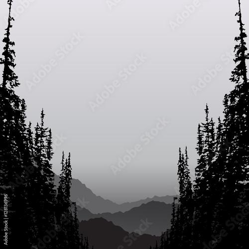 Krajobraz z drzewa i gór abstrakta tłem.