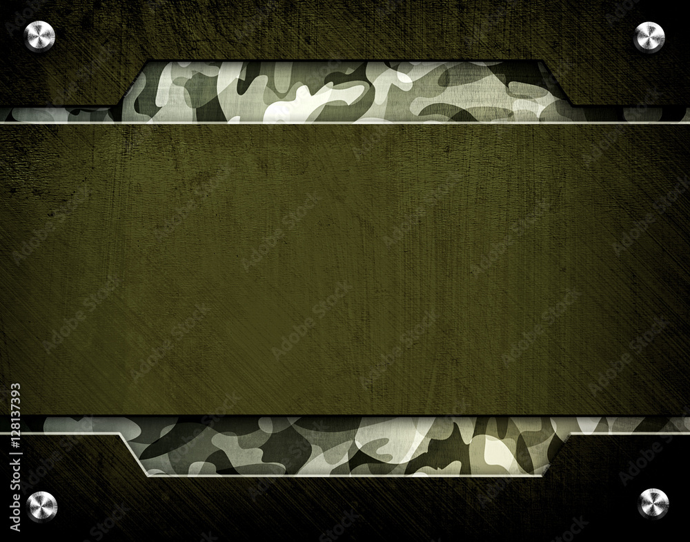 Fototapeta metal template with army pattern background
