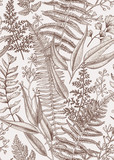 Kwiatowy wzór w stylu vintage. - 128137907