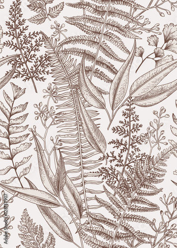 Foto Seamless floral pattern in vintage style.