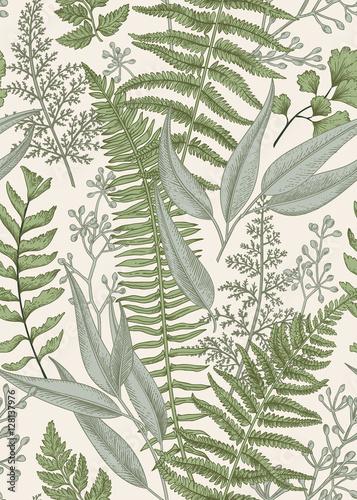 Stampa su Tela Seamless floral pattern in vintage style.