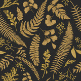 Seamless floral pattern. Gold. - 128138103
