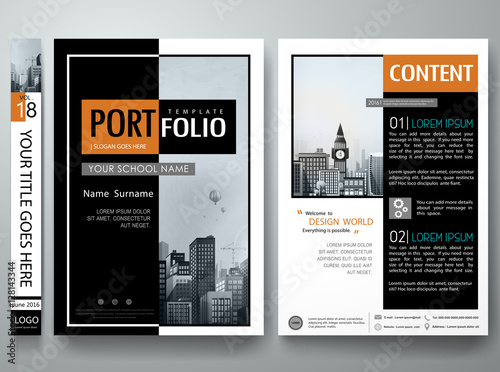 Fototapeta Minimal cover book portfolio presentation layout.Black and white abstract square brochure design report business flyers magazine poster.Portfolio template vector layout.City design on A4 layout. obraz