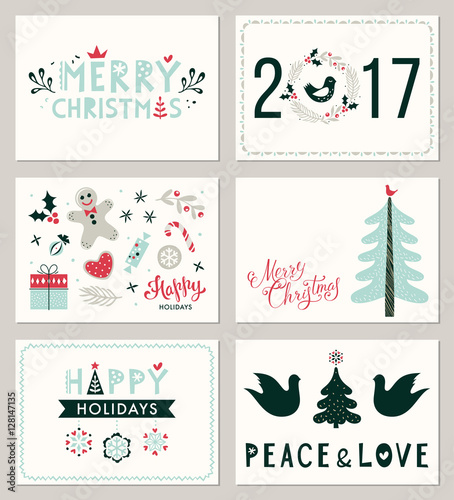 Winter holidays greeting cards merry christmas happy holidays and winter holidays greeting cards merry christmas happy holidays and peace and love vector m4hsunfo