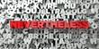 NEVERTHELESS - Red text on typography background - 3D rendered royalty free stock image. This image can be used for an online website banner ad or a print postcard.