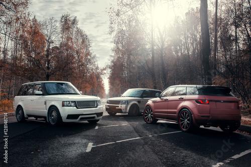 Zdjęcie XXL Trzy samochody zaparkowane na jesień las asfaltową drogą