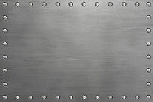 Riveted Metal Plate With Rivets