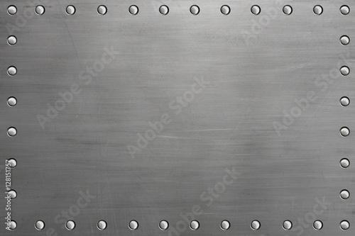 Türaufkleber Metall Riveted metal plate with rivets