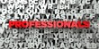 PROFESSIONALS - Red text on typography background - 3D rendered royalty free stock image. This image can be used for an online website banner ad or a print postcard.