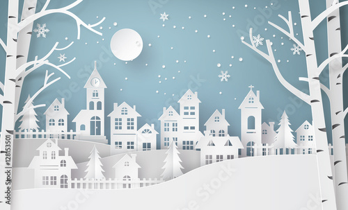 Fotobehang Wit Winter Snow Urban Countryside Landscape City Village with ful lm