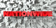 NATIONWIDE -  Red Text On Typography Background - 3D Rendered Royalty Free Stock Image. This Image Can Be Used For An Online Website Banner Ad Or A Print Postcard.