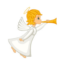 Christmas Angel Blowing A Horn...