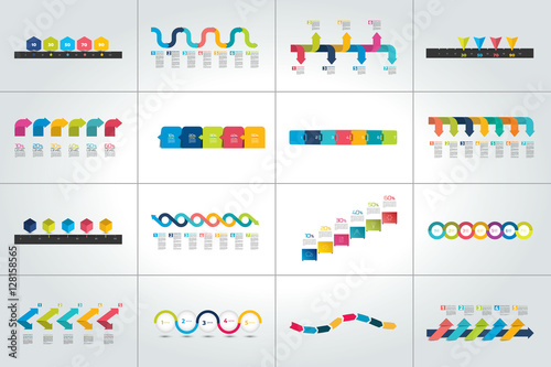 Photo  Mega set of timeline infographic templates, diagrams,  presentations
