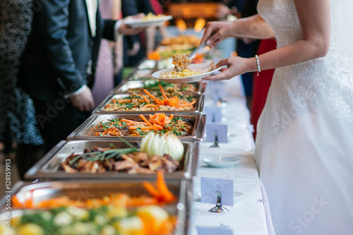 Spoed Foto op Canvas Buffet, Bar essen hochzeit buffet catering