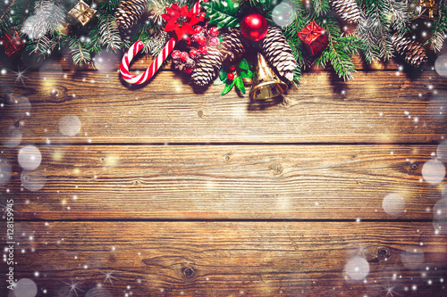 Fotografie, Obraz  Christmas background with fir tree and decoration