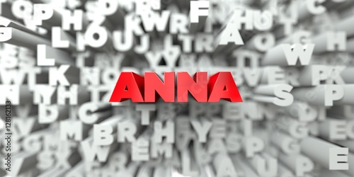 ANNA -  Red text on typography background - 3D rendered royalty free stock image Poster