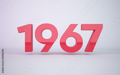 Fotografia  3d rendering red year 1967 on white background