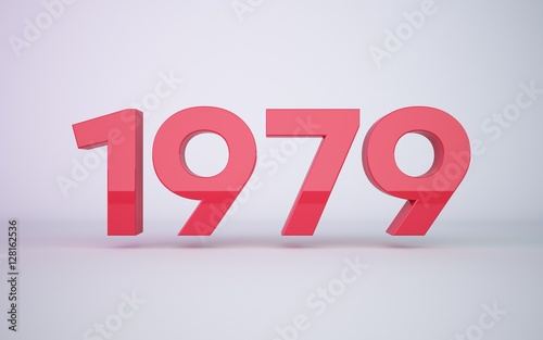 Papel de parede 3d rendering red year 1979 on white background