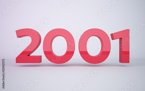 Fotografia  3d rendering red year 2001 on white background