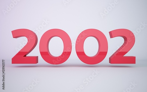 Papel de parede 3d rendering red year 2002 on white background