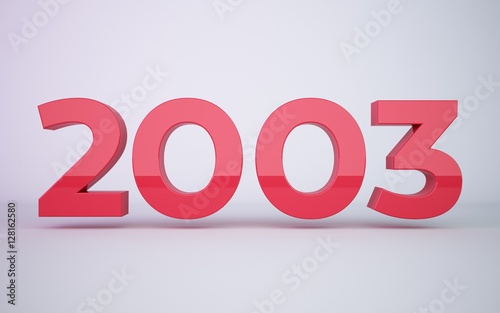 Papel de parede 3d rendering red year 2003 on white background