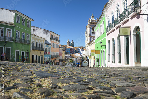 Leinwand Poster  Scenic morning view of the historic city center of Pelourinho in Salvador da Bah