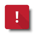 Flat Exclamation Mark web icon on red button with drop shadow