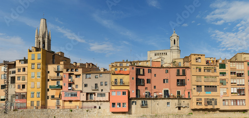 Old colorful houses on Onyar riverbank in Girona, Catalonia, Spa
