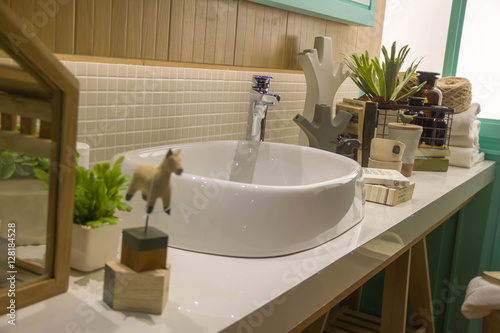 . Nicely decorated modern washroom  bathroom  with the toilet sit